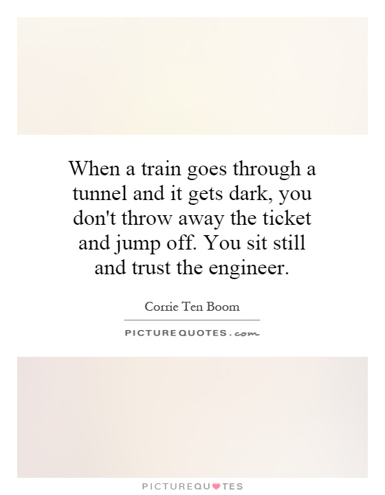 When a train goes through a tunnel and it gets dark, you don't throw away the ticket and jump off. You sit still and trust the engineer Picture Quote #1