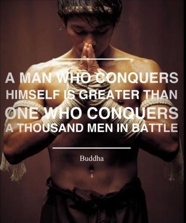 A man who conquers himself is greater than one who conquers a thousand men in battle Picture Quote #1