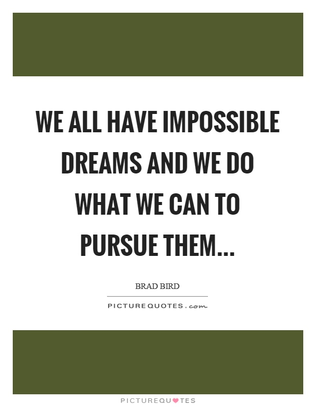 We all have impossible dreams and we do what we can to pursue them Picture Quote #1