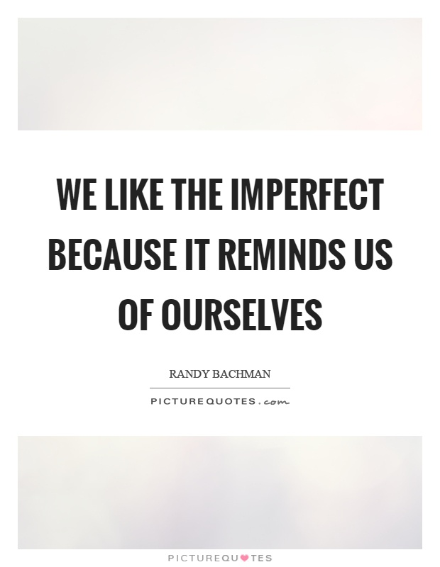 We like the imperfect because it reminds us of ourselves Picture Quote #1
