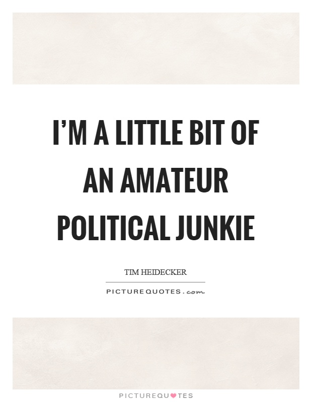 I'm a little bit of an amateur political junkie Picture Quote #1