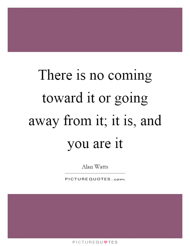 There is no coming toward it or going away from it; it is, and you are it Picture Quote #1