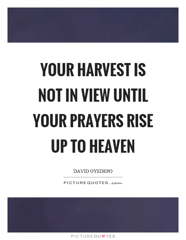 Your harvest is not in view until your prayers rise up to heaven Picture Quote #1