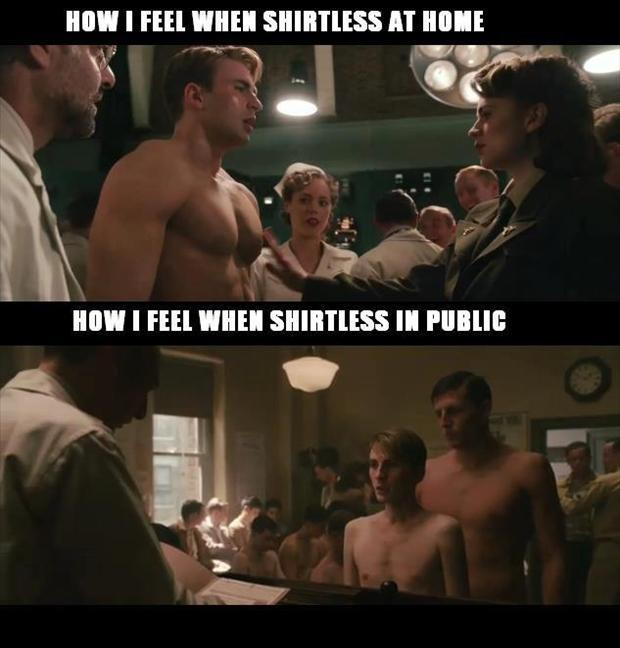 How I feel when shirtless at home. How I feel when shirtless in public Picture Quote #1