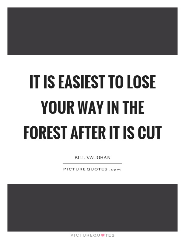 It is easiest to lose your way in the forest after it is cut Picture Quote #1