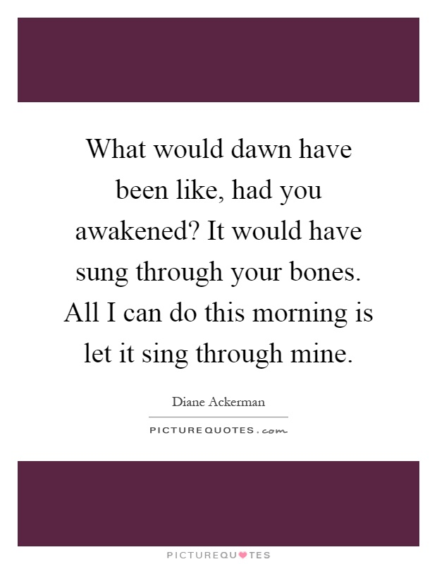 What would dawn have been like, had you awakened? It would have sung through your bones. All I can do this morning is let it sing through mine Picture Quote #1