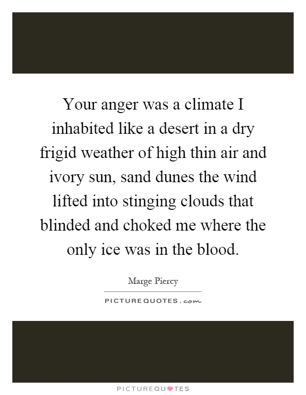 Your anger was a climate I inhabited like a desert in a dry frigid weather of high thin air and ivory sun, sand dunes the wind lifted into stinging clouds that blinded and choked me where the only ice was in the blood Picture Quote #1