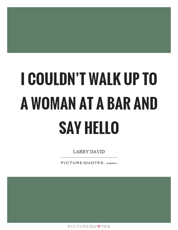 I couldn't walk up to a woman at a bar and say hello Picture Quote #1