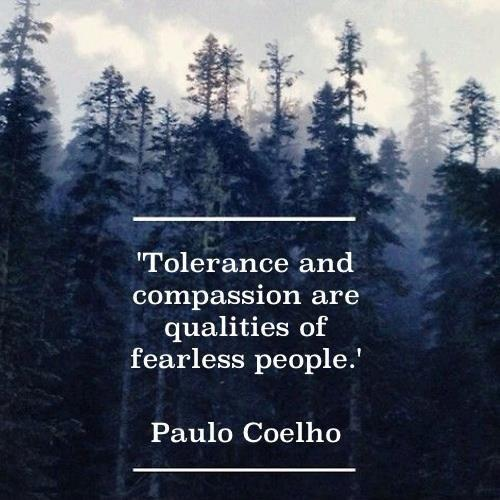Tolerance and compassion are qualities of fearless people Picture Quote #1