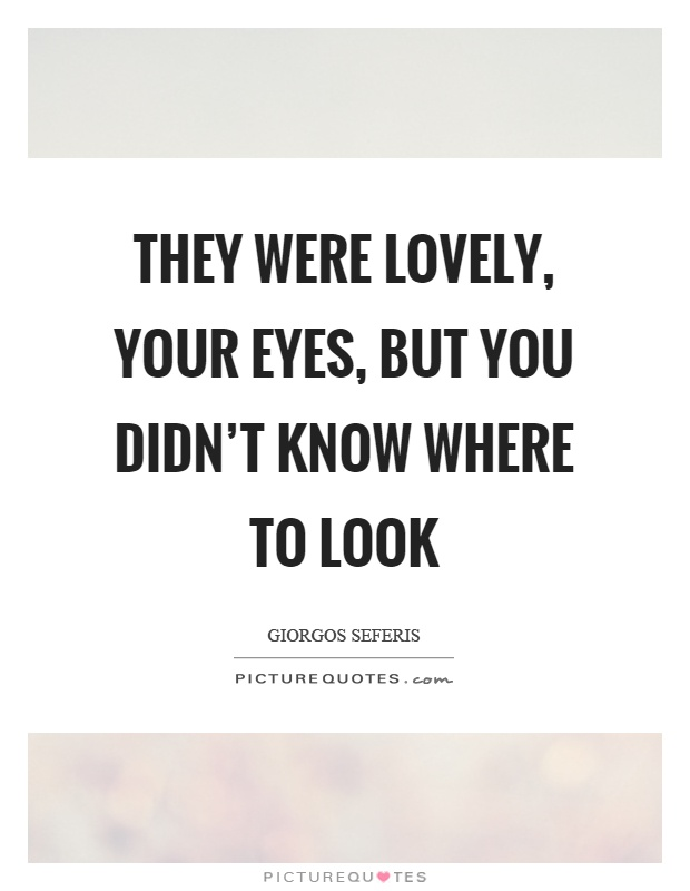 They were lovely, your eyes, but you didn't know where to look Picture Quote #1