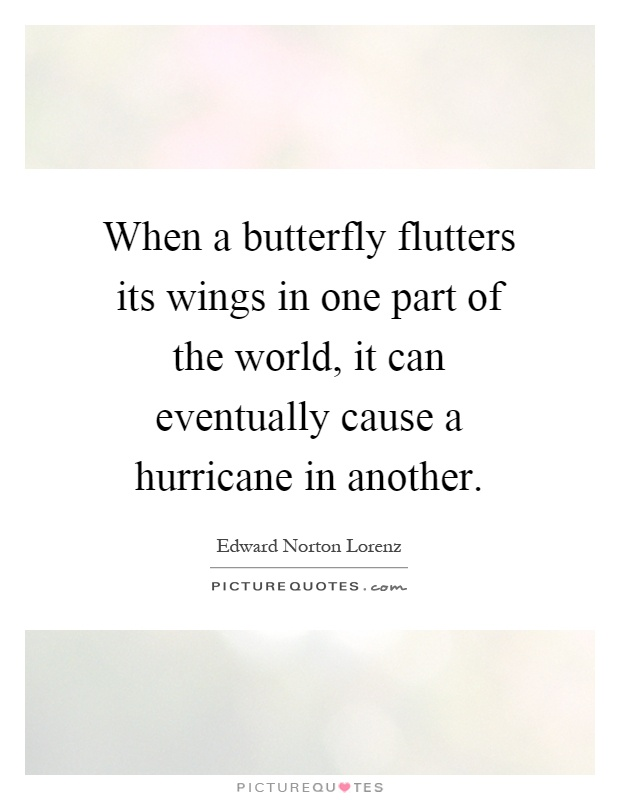 When a butterfly flutters its wings in one part of the world, it can eventually cause a hurricane in another Picture Quote #1
