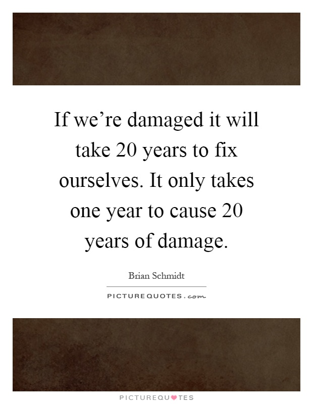 If we're damaged it will take 20 years to fix ourselves. It only takes one year to cause 20 years of damage Picture Quote #1