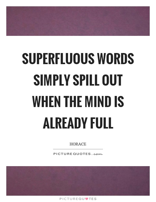 Superfluous words simply spill out when the mind is already full Picture Quote #1
