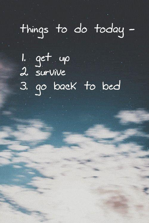 Things to do today - 1. Get up 2. Survive. 3. Go back to bed Picture Quote #1