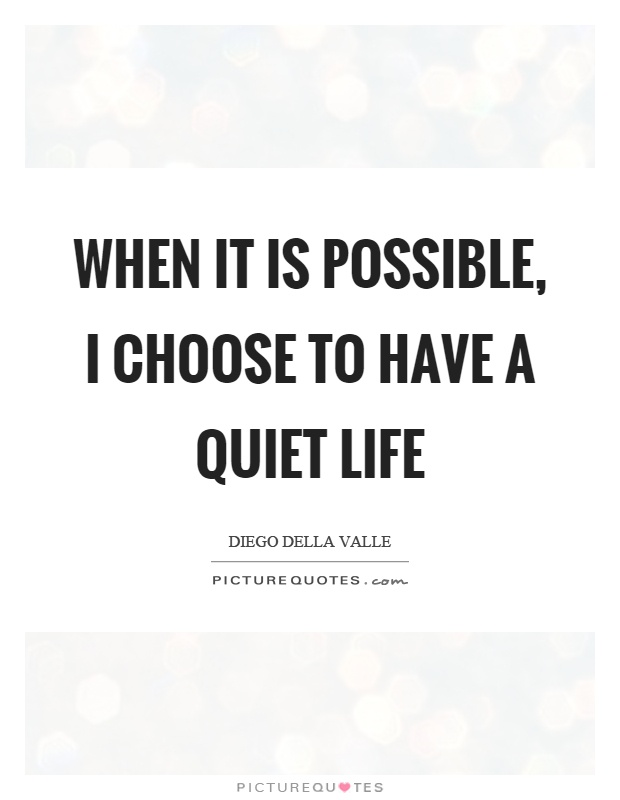 When it is possible, I choose to have a quiet life Picture Quote #1