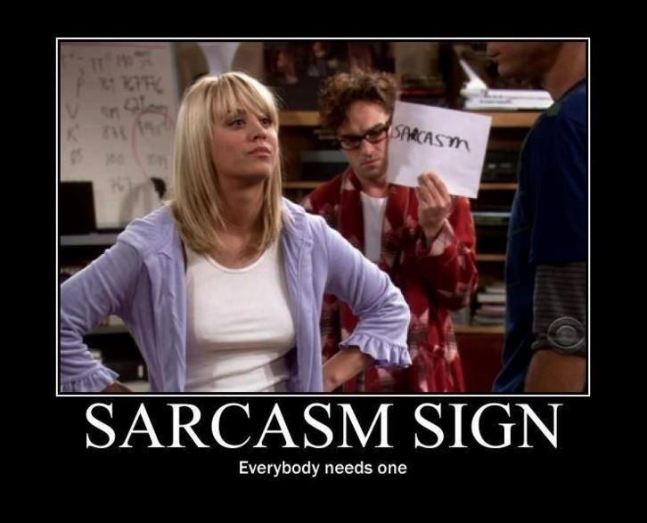 Sarcasm sign. Everybody needs one Picture Quote #1