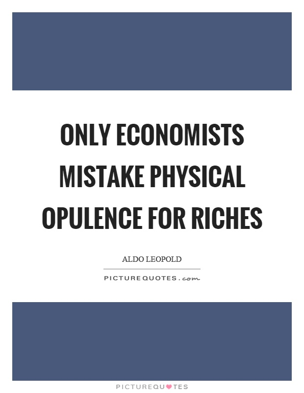 Only economists mistake physical opulence for riches Picture Quote #1