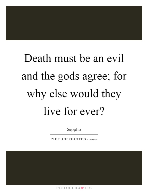 Death must be an evil and the gods agree; for why else would they live for ever? Picture Quote #1