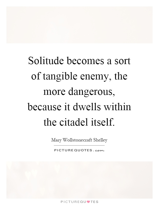 Solitude becomes a sort of tangible enemy, the more dangerous, because it dwells within the citadel itself Picture Quote #1