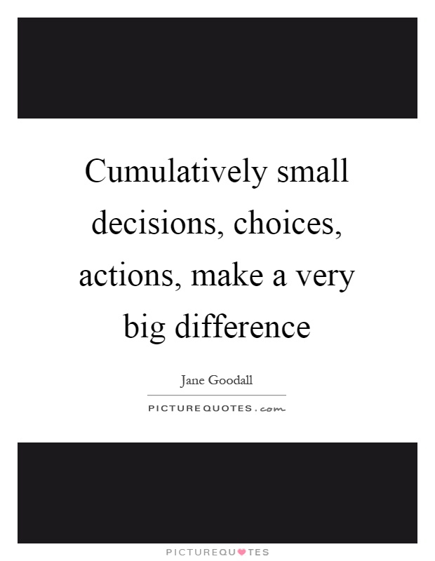 Cumulatively small decisions, choices, actions, make a very big difference Picture Quote #1
