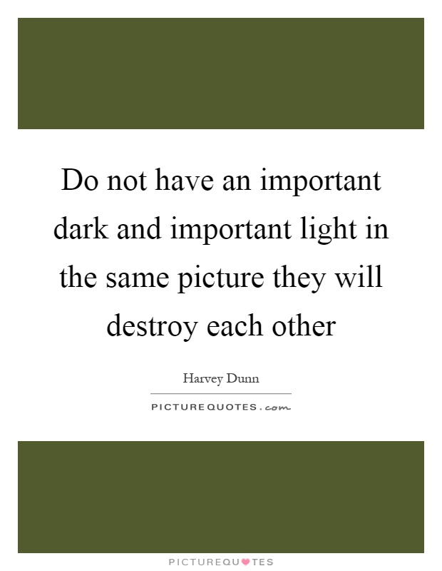 Do not have an important dark and important light in the same picture they will destroy each other Picture Quote #1