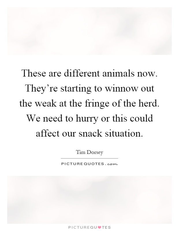 These are different animals now. They're starting to winnow out the weak at the fringe of the herd. We need to hurry or this could affect our snack situation Picture Quote #1