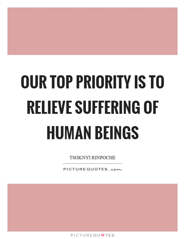 Our top priority is to relieve suffering of human beings Picture Quote #1