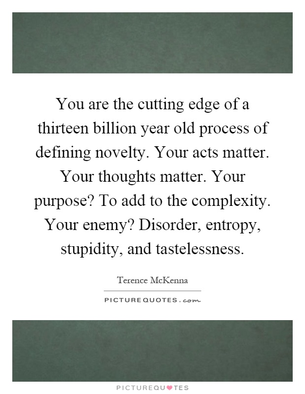 You are the cutting edge of a thirteen billion year old process of defining novelty. Your acts matter. Your thoughts matter. Your purpose? To add to the complexity. Your enemy? Disorder, entropy, stupidity, and tastelessness Picture Quote #1