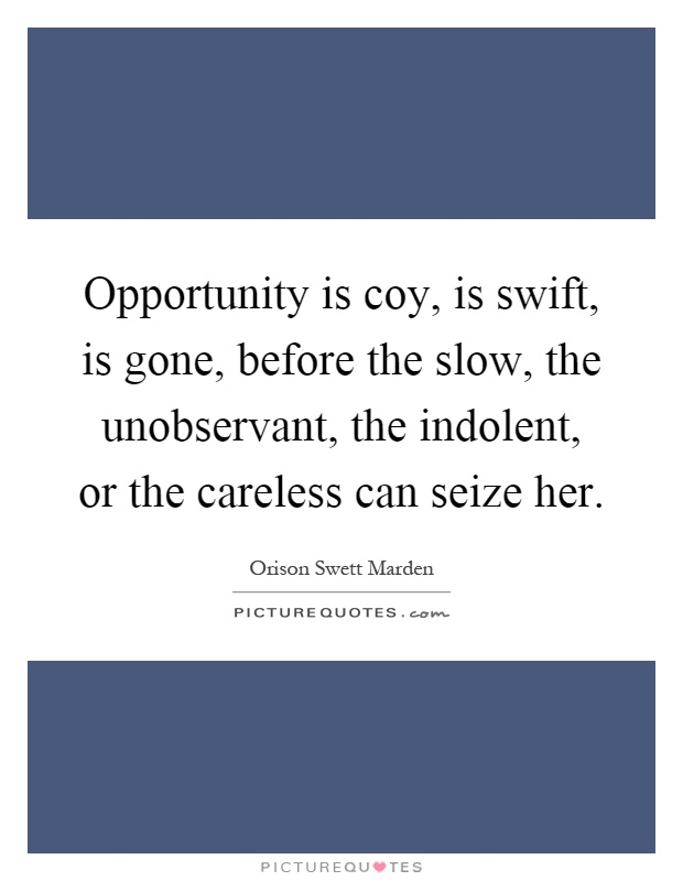 Opportunity is coy, is swift, is gone, before the slow, the unobservant, the indolent, or the careless can seize her Picture Quote #1