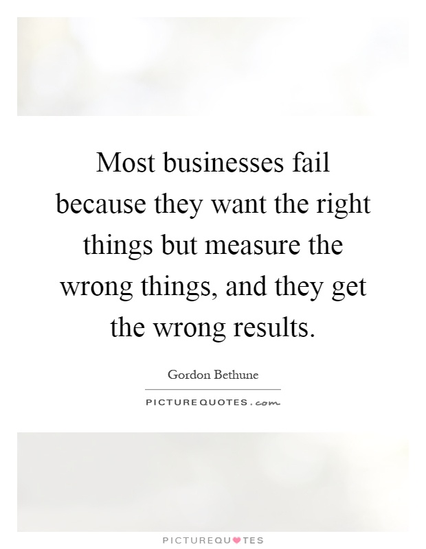 Most businesses fail because they want the right things but measure the wrong things, and they get the wrong results Picture Quote #1