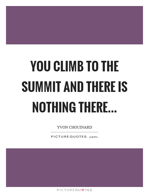 You climb to the summit and there is nothing there Picture Quote #1