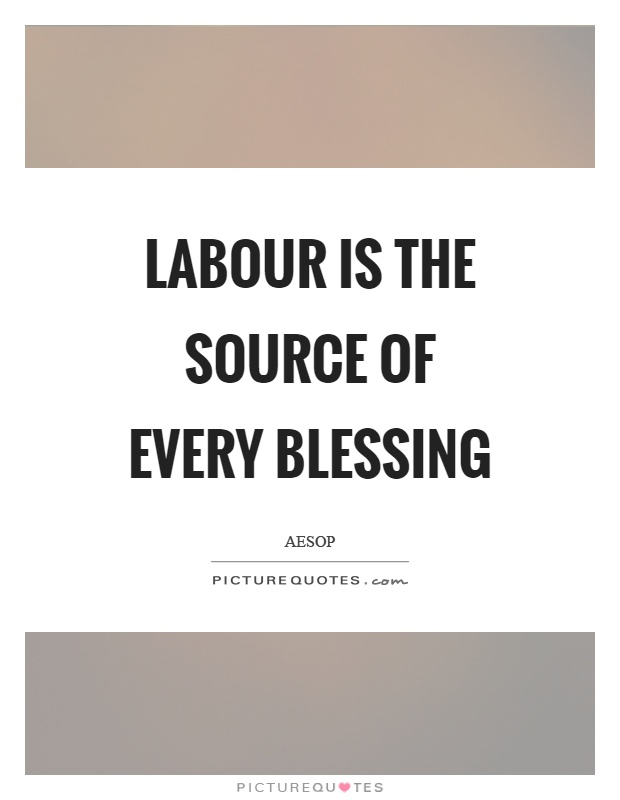 Labour is the source of every blessing Picture Quote #1