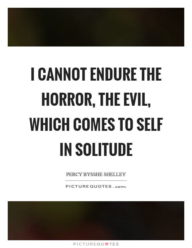 I cannot endure the horror, the evil, which comes to self in solitude Picture Quote #1