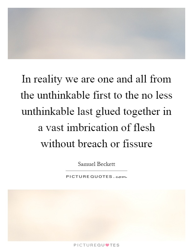 In reality we are one and all from the unthinkable first to the no less unthinkable last glued together in a vast imbrication of flesh without breach or fissure Picture Quote #1