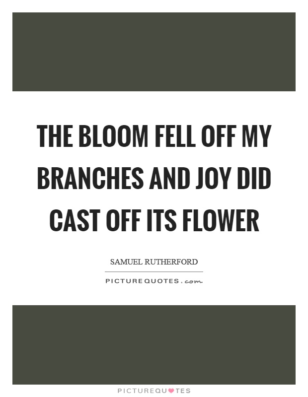 The bloom fell off my branches and joy did cast off its flower Picture Quote #1