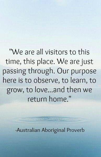 We are all visitors to this time, this place. we are just passing through. Our purpose is to observe, to learn, to grow, to love... and then we return home Picture Quote #1