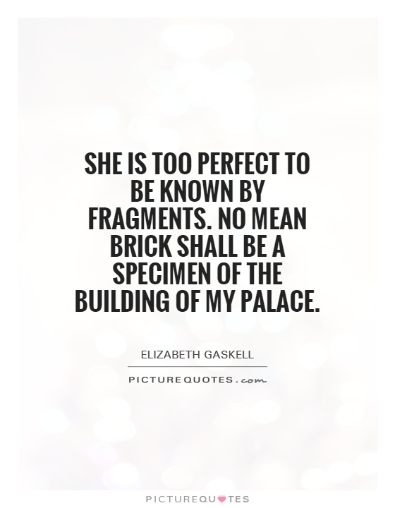 She is too perfect to be known by fragments. No mean brick shall be a specimen of the building of my palace Picture Quote #1