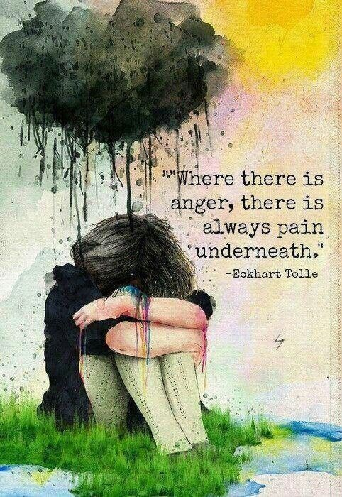 Where there is anger, there is always pain underneath Picture Quote #1