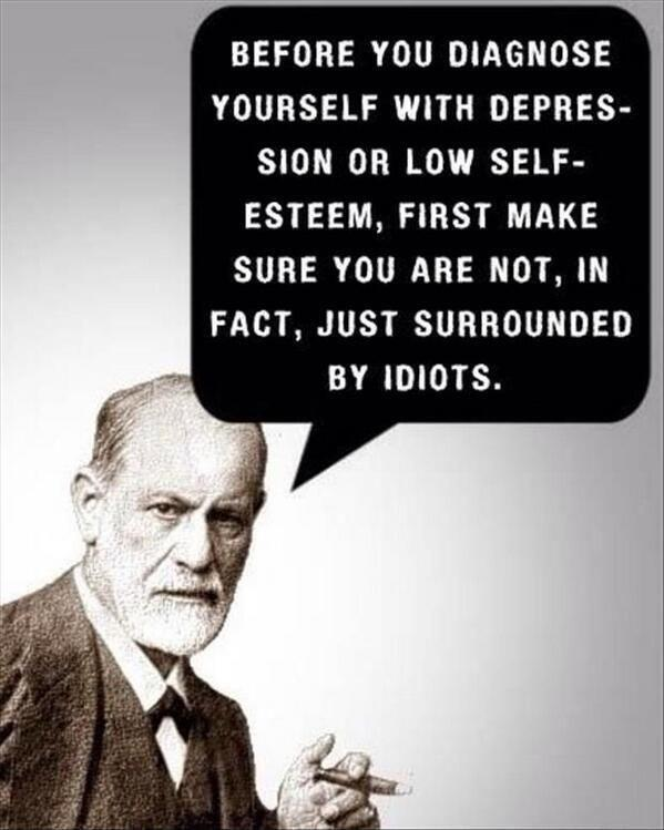 Before you diagnose yourself with depression or low self-esteem, first make sure you are not, in fact, just surrounded by idiots Picture Quote #1