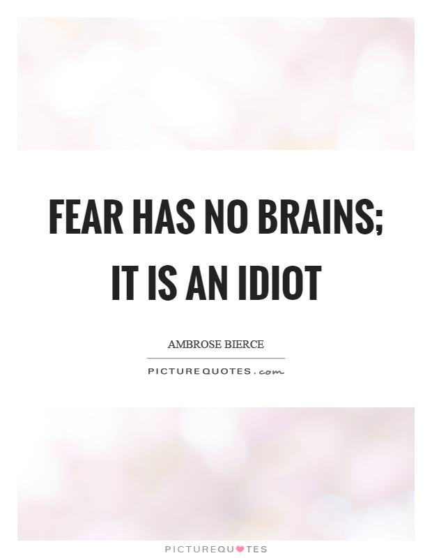 Fear has no brains; it is an idiot Picture Quote #1