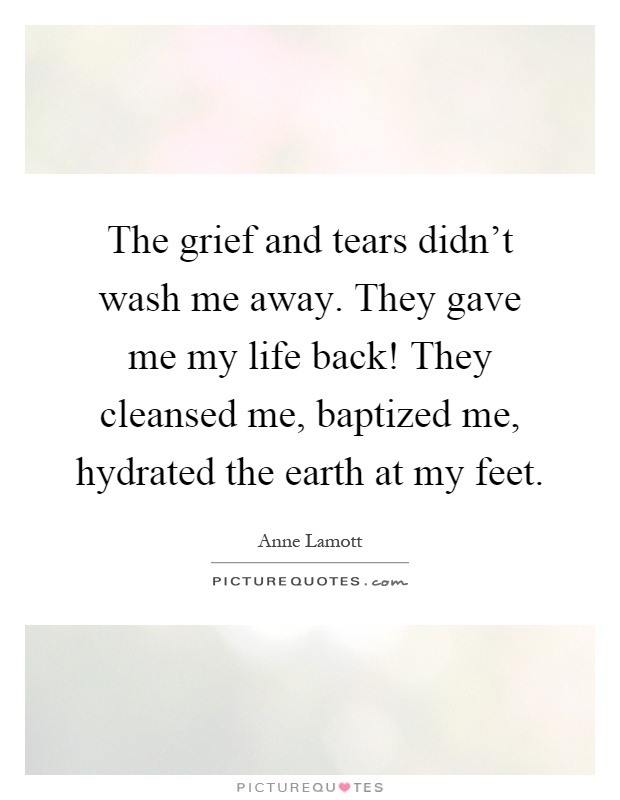 The grief and tears didn't wash me away. They gave me my life back! They cleansed me, baptized me, hydrated the earth at my feet Picture Quote #1