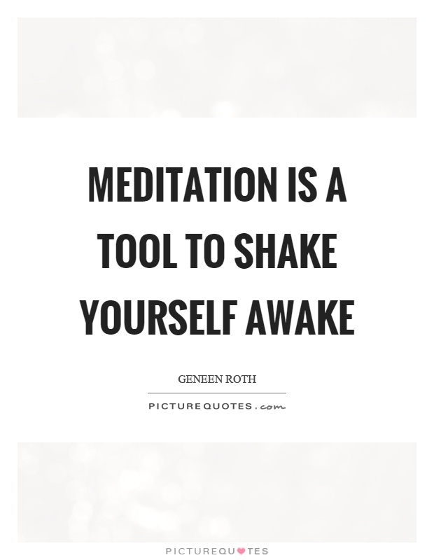 Meditation is a tool to shake yourself awake Picture Quote #1