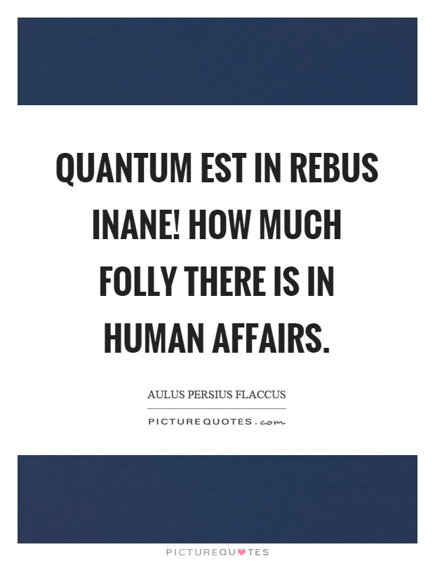 Quantum est in rebus inane! How much folly there is in human affairs Picture Quote #1