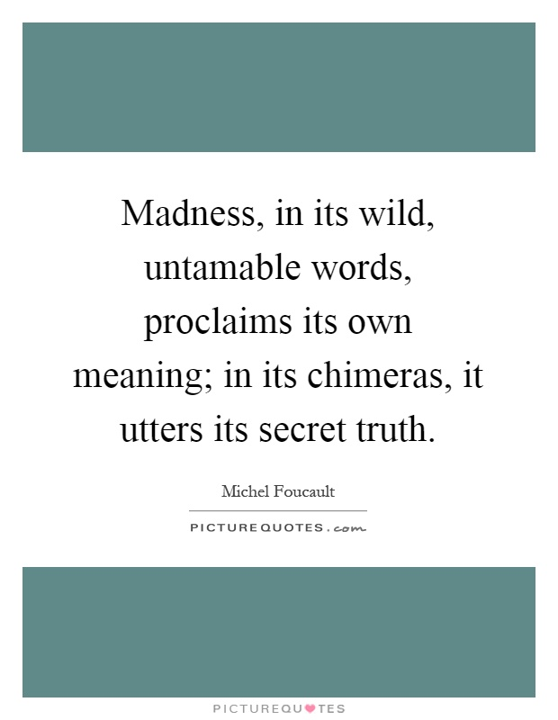 Madness, in its wild, untamable words, proclaims its own meaning; in its chimeras, it utters its secret truth Picture Quote #1