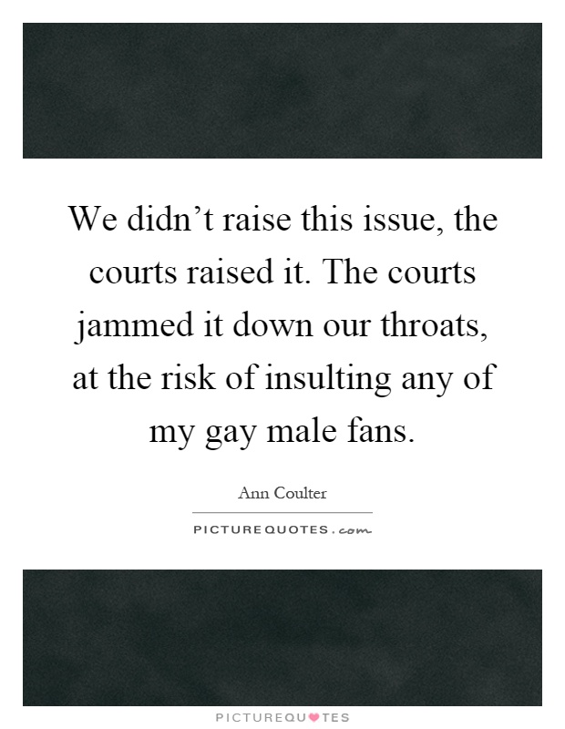 We didn't raise this issue, the courts raised it. The courts jammed it down our throats, at the risk of insulting any of my gay male fans Picture Quote #1