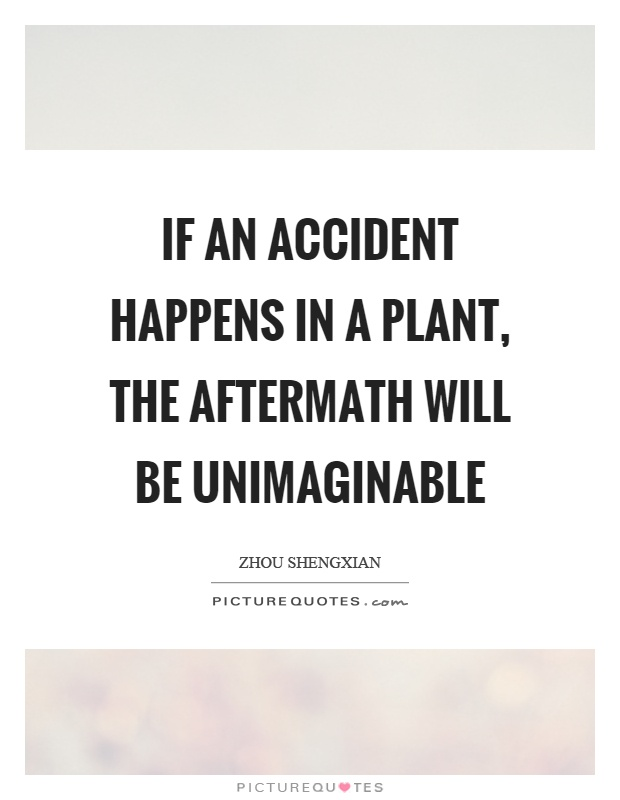 If an accident happens in a plant, the aftermath will be unimaginable Picture Quote #1