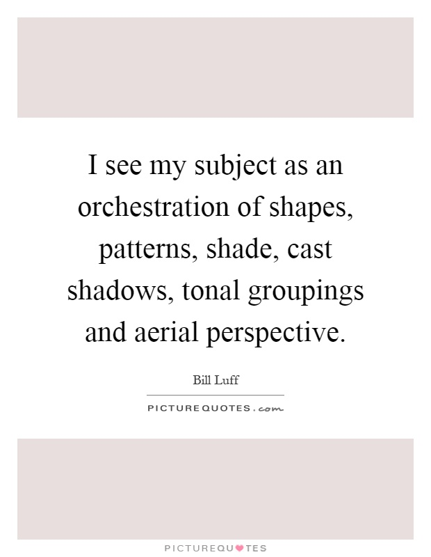 I see my subject as an orchestration of shapes, patterns, shade, cast shadows, tonal groupings and aerial perspective Picture Quote #1