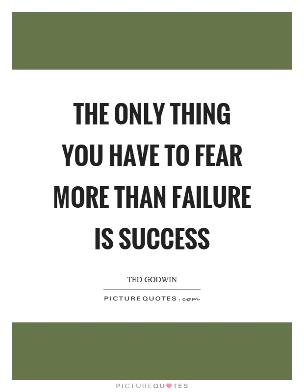 The only thing you have to fear more than failure is success Picture Quote #1