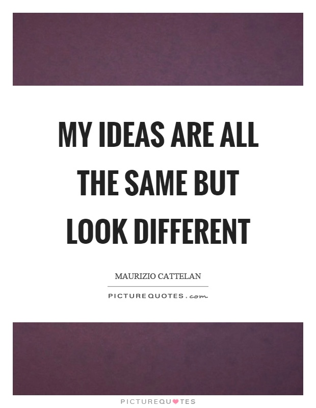 My ideas are all the same but look different Picture Quote #1