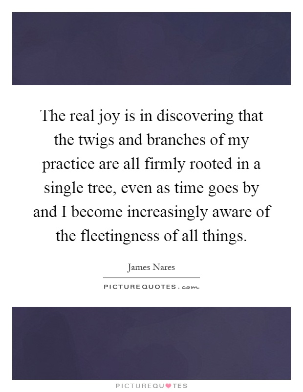 The real joy is in discovering that the twigs and branches of my practice are all firmly rooted in a single tree, even as time goes by and I become increasingly aware of the fleetingness of all things Picture Quote #1